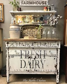Fresh Dairy buffet painted with Homestead House Milk paint in Sturbridge White. Funky Furniture, Repurposed Furniture, Shabby Chic Furniture, Furniture Makeover, Painted Furniture, Decopage Furniture, Farmhouse Furniture, Farmhouse Decor, Farmhouse Style