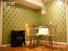 I love what she did with the stencil in her dining room!