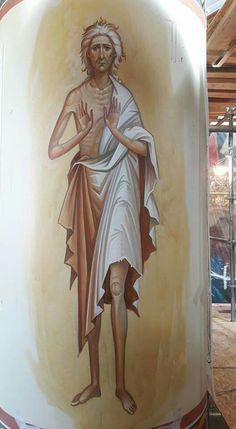 Greece -by George Kordis ~~~.St Mary of Egypt fresco Byzantine Icons, Byzantine Art, Religious Images, Religious Icons, St Mary Of Egypt, Religious Paintings, Jesus Art, Best Icons, Orthodox Icons