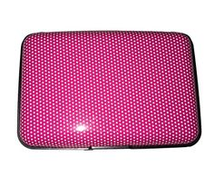 Designer Safe Aluminum Hard Case Slim Travel Wallet with RFID Blocking for Women Men Teens Hot Pink with White Mini Polka Dots  05 * Click image to review more details.