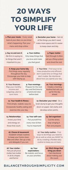 20 ways to simplify your life – Balance Through Simplicity – Health Life Vie Motivation, Self Care Activities, Good Habits, Self Improvement Tips, Self Care Routine, Life Organization, Self Development, Leadership Development, Decluttering