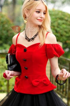 Bowknot, Women Tops , $68.99, Red Bowknot Boat Neck Off-Shoulder Strap Short Sleeve Blouse