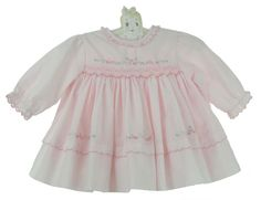 NEW Sarah Louise Pink Smocked Dress with Pastel Flowers and Openwork $65.00 Smocked Baby Clothes, Smocked Dresses, Pastel Flowers, Christening Gowns, Smock Dress, Little Dresses, Cotton Sweater, Night Gown, Pink Dress