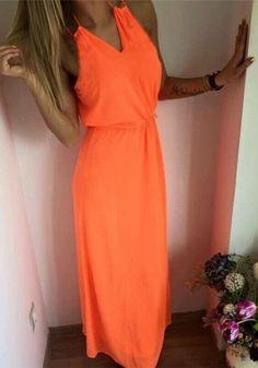 Orange Plain Condole Belt V-neck Bohemian Maxi Dress