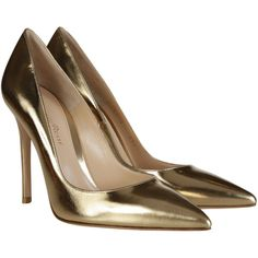 Gianvito Rossi High-heeled shoes ($355) ❤ liked on Polyvore featuring shoes, pumps, heels, scarpe, metallic gold, pointy toe pumps, leather shoes, leather high heel pumps, leather pointed toe pumps and metallic leather pumps