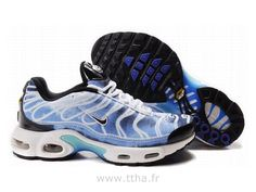 wholesale dealer 4c768 0f428 Chaussures de Nike Air Max Tn Requin Homme Blanc Noir et Bleu Chaussures Tn  Homme