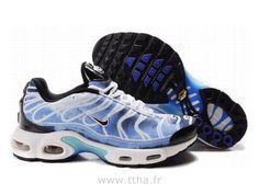 wholesale dealer 9013a 4e259 Chaussures de Nike Air Max Tn Requin Homme Blanc Noir et Bleu Chaussures Tn  Homme