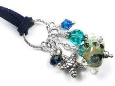 Lampwork Glass Pendant - Reef Glass Pendants, Glass Beads, Sea Colour, Shades Of Blue, Sterling Silver Jewelry, Swarovski Crystals, Indigo, Handmade, Beautiful