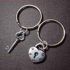 This pin is now closed! A winner has been selected for this round. Silver lock & key charm keychains