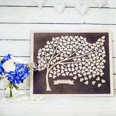 A beautiful and whimsical guest book tree, designed to take your breath away and store all those wedding memories.Please take care when entering your personalisation as it will be engraved exactly as you enter it, including any capitalisation (e.g. James, james, JAMES). Note: The wood grain and colour may vary a bit due to the variable nature of natural materials. The tree wood might be darker or lighter than in the picture shown. IMPORTANT NOTE: PLEASE check the DELIVERY DATE BEFORE you…