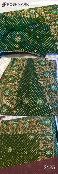 Green gold heavy bridal sari saree Indian dress Brand new 3 piece stitched green gold saree with heavy work embellishment and embroidery shimmer fabric blouse and petticoat included can be custom sized to any size free alterations ships from nj USA in stock Dresses