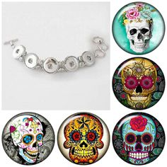 Sugar Skull 5 x 20 mm snap charm bracelet, Day of the Dead snap button Bracelets is interchangeable with Gingersnap or Noosa style - pinned by pin4etsy.com
