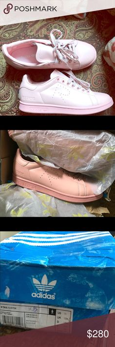 Size 11 raf simons Stan smith adidas 9.5/10 condition. Worn once. Classic look. Vintage and stored well. Get these off of me!! They run a little small and I pink wasn't the color for me. Makes a great gift! adidas Shoes Sneakers