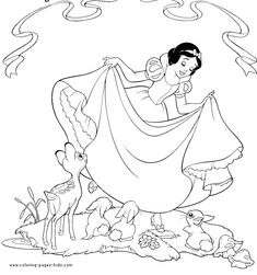 Snow White and the Seven Dwarfs color page disney coloring pages, color plate, coloring sheet,printable coloring picture