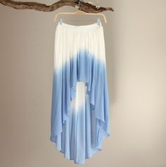 Flowy chiffon hi-lo skirt with sky blue dip-dye print. High waist with elastic waistband. Photo Shown: Size S Front length: Back length: Waist: Polyester Gentle Wash in cold water Country Girl Dresses, Country Girls, School Fashion, New Fashion, Junior Outfits, Cute Outfits, Blue Dip Dye, Hi Low Skirts, Pretty And Cute
