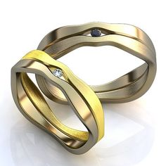 Unusual wedding rings Promise Rings his and by WorldOfGold on Etsy