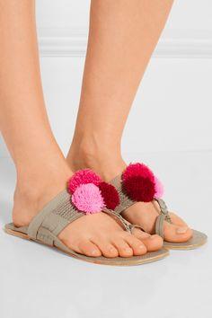 Figue | Lolita pompom-embellished leather sandals | NET-A-PORTER.COM