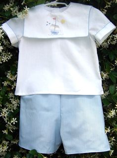 machine embroidered shadow work collar, Easter outfit for grandson