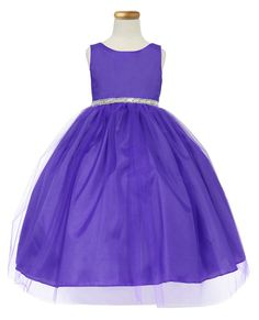 Girls Dress Style D754 - PURPLE Sleeveless Satin and Organza Dress with Embellished Rhinestone Waist  Classic beauty with extra flare. We love this style because it can be worn from event to event. So much versatility! This is a style that is timeless and can be passed from one generation to the next.  http://www.flowergirldressforless.com/mm5/merchant.mvc?Screen=PROD&Product_Code=CA_D754PUR&Store_Code=Flower-Girl&Category_Code=New