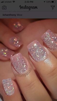 5 Gorgeous Gel Nail Designs With Gems Sparkle for you : Check them out! 5 Gorgeous Gel Nail Designs With Gems Sparkle for you : Check them out! Gem Nail Designs, Classy Nail Designs, Pedicure Designs, Nails Design, Glitter Nail Designs, Gel Designs, Sparkly Acrylic Nails, Silver Glitter Nails, Pink Nails