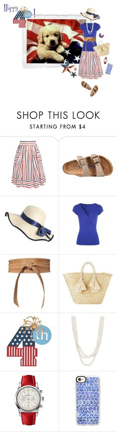"""""""happy fourth!"""" by whimsical-angst ❤ liked on Polyvore featuring Birkenstock, Jane Norman, Brave, Giselle, Bloomingdale's, Breitling, Casetify, Gucci and country"""