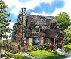 Mountain Cabin - 11545KN   1st Floor Master Suite, 2nd Floor Master Suite, CAD Available, Country, Jack & Jill Bath, Log, PDF   Architectural Designs