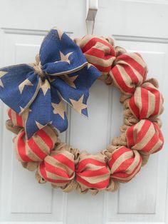 July 4th wreath Fourth of July burlap wreath patriotic wreath