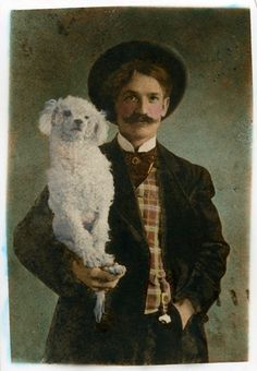 man with poodle