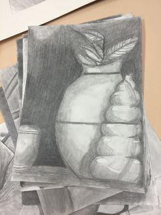 Medium: Graphite This is a still life of a pot and a few other objects.