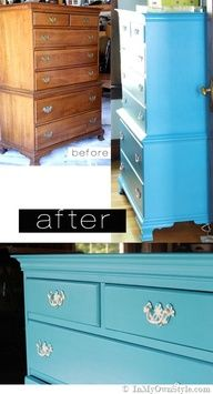 how to paint thrift store futniture that has a veneer or finish on it How-to-paint-a-wood-dresser