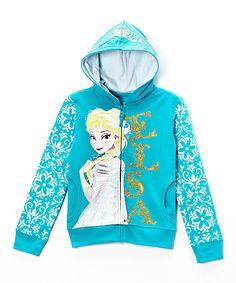 Look at this #zulilyfind! Frozen 'Elsa' Turquoise Glitter Zip-Up Hoodie - Girls by Disney #zulilyfinds