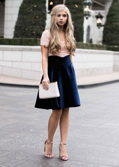 holiday look, holiday skirt, christmas outfit, blush, velvet, ootd, jessakae, blonde, hair, half up, street style, womens fashion, fashion, style