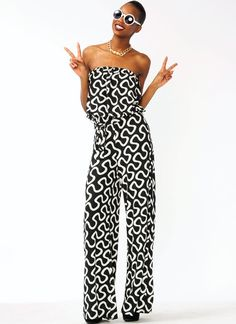 strapless squiggly belted jumpsuit