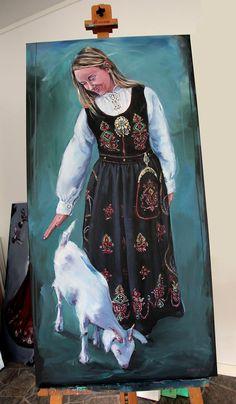 Akryl på lerret 60 x 120 cm. Norwegian Clothing, Folklore, Norway, Illustrator, Paintings, Dolls, Drawings, Art, Baby Dolls