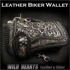 Skull Hand Carved Leather Genuine Cowhide Biker Wallet Handcrafted Custom Handmade/WILD HEARTS Leather&Silver  http://item.rakuten.co.jp/auc-wildhearts/lw1804/
