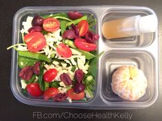 #mykidslunch: salad with spinach, sugar snap peas and asparagus. (Oil and vinegar for dressing). And a cutie.  FB.com/ChooseHealthKelly