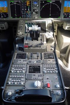 Cockpit of All Nippon Airways Boeing 787 Dreamliner.