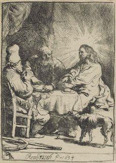 Christ at Emmaus 1634. 104 x 75 mm. Rembrandt Harmensz van Rijn (1606-1669)