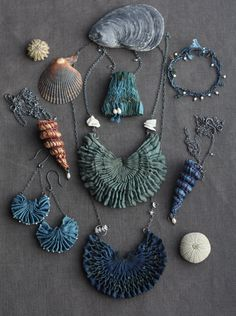 Jewellery from her the Sea, the Sea collection |  Eva ~ Tinctory Designs.  Working in silk.