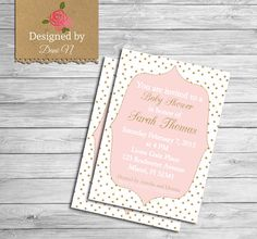 baby shower Invitation, glitter baby shower, pink and gold invitation, printable, shabby chic, baby pink, polka dots invite