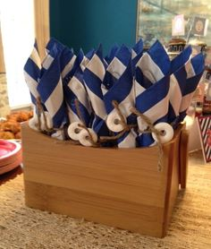 Nautical Baby Shower- i love this but different napkins and maybe put them in a cute bucket!! @Alma Jaimez