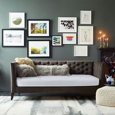 """$700 Elton Daybed (mattress sold separately) 83""""wx45""""dx35""""ht. Performance upholstery fabric in Otter.  Use with twin mattress."""