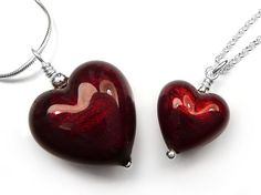 Murano Glass Heart Pendant - Ruby Small