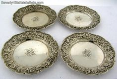 Antique Sterling Silver s Kirk Flower Repousse Nut Dishes or Butter Pats | eBay