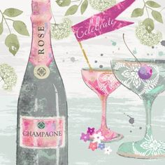 Leading Illustration & Publishing Agency based in London, New York & Marbella. Rose Champagne, Im Happy, Christmas Wishes, Happy Anniversary, Birthday Wishes, New Baby Products, Decoupage, Illustration Art, Congratulations