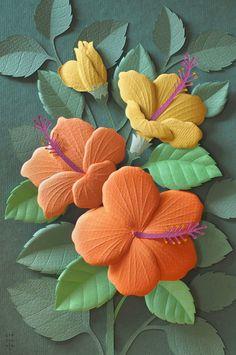 Delicate paper sculpture by Wirin Chaowana. 3d Paper Art, Paper Pop, Cardboard Art, Paper Artwork, Paper Crafts Origami, Paper Quilling, Diy Paper, Kirigami, Origami Flowers