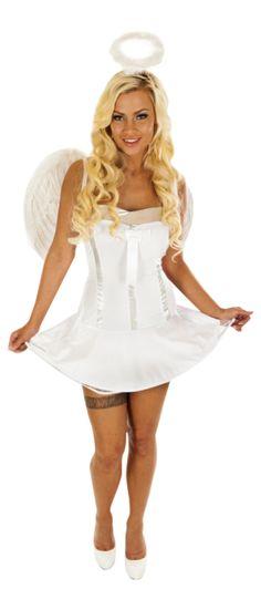 Englekostumet består af hvid tubekjole med tyndt tylskørt under og sølvfarvet detaljer. Med til kostumet følger fine vinger - vist på billedet  Købes på www.hotangel.dk