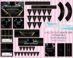 Call Of Duty Black Ops 10 Printable Customizable Party Pack. $35.00, via Etsy.