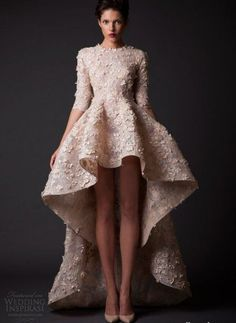 11 Unique Short Summer Wedding Dresses for the Original Bride: Exotic peach high low summer wedding dress with three quarter sleeves by Krikor Jabotian