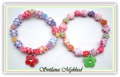Lot de 2 Bracelets perles animaux , fleurs acryliques. Bijoux Filles , enfants, bebe : Bijoux enfants par perles-et-couronnes